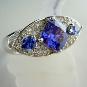 Blue & White Cubic Zirconia Rhodium Over Sterling